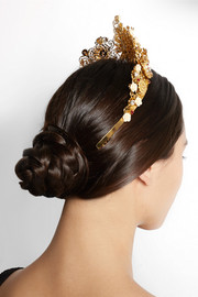 Gold-tone Swarovski crystal crown