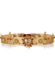 Sacro Cuore Swarovski crystal-embellished gold-plated belt