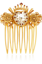 Swarovski crystal-embellished gold-tone hair slide
