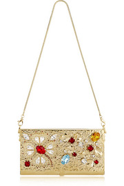 Crystal-embellished gold-tone shoulder bag