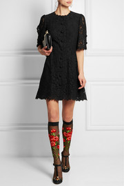 Embroidered tulle socks