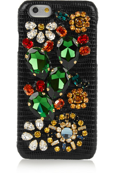 701d12d0a7 Dolce & Gabbana. Swarovski crystal-embellished lizard-effect leather iPhone  6 case