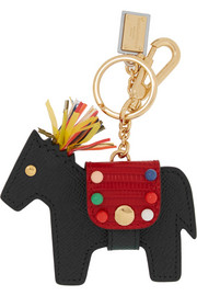 Textured-leather horse keychain