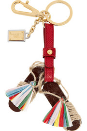 Tasseled leather keychain