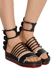 Two-tone leather platform sandals