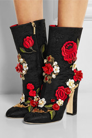 Embellished brocade boots