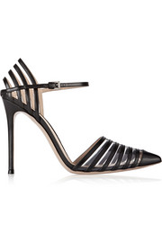 Gianvito Rossi Cutout leather and PVC pumps