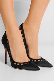 Cutout suede-trimmed silk-satin pumps