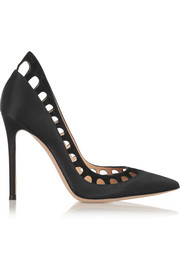 Gianvito Rossi Cutout suede-trimmed silk-satin pumps