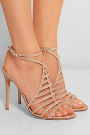 Gianvito Rossi Glitter-finished twill sandals
