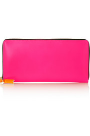 Neon leather continental wallet