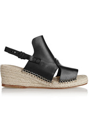 Sayre II leather espadrille wedge sandals