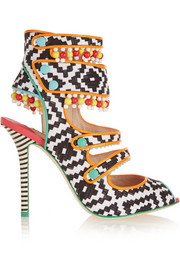 Amma Aztec leather-trimmed printed satin sandals