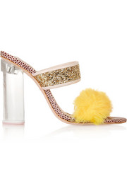 Sophia Webster + Shrimps Skye faux fur-trimmed stingray-effect leather sandals