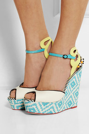 Sophia Webster Lula printed satin and patent-leather wedge sandals