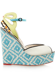 Lula printed satin and patent-leather wedge sandals