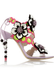 Amazona floral-appliquéd leather sandals