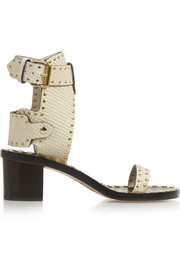 Jaeryn studded snake-effect leather sandals