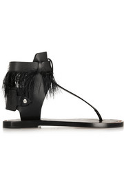 Jadyn feather-trimmed leather sandals