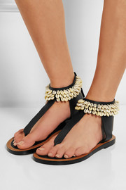 Jean shell-embellished leather sandals