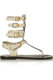 Jeepy studded snake-effect leather sandals