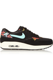 Air Max 1 suede, mesh and printed faux leather sneakers