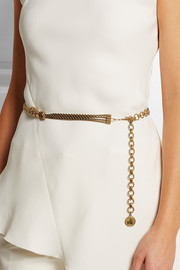 Braided gold-tone rope belt