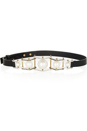 Lanvin Embellished leather waist belt