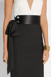 Grosgrain-trimmed satin and leather waist belt