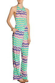 Missoni Crochet-knit halterneck jumpsuit