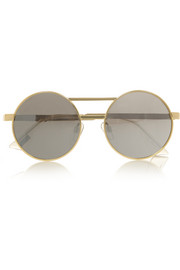 Vertigo gold-tone round-frame mirrored sunglasses