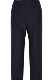 Cropped cotton-gabardine straight-leg pants