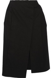 Wrap-effect stretch-cotton twill skirt