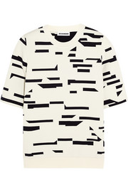 Jil Sander Intarsia stretch cotton-blend jersey sweatshirt