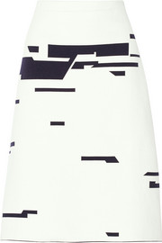 Intarsia stretch-knit skirt