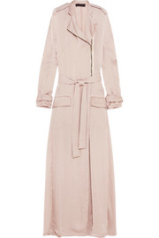 Hammered-satin trench coat