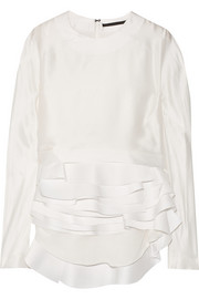 Tiered silk-satin blouse