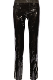 Patent and textured-leather straight-leg pants