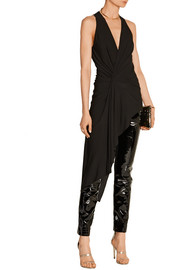 Haider Ackermann Patent and textured-leather straight-leg pants