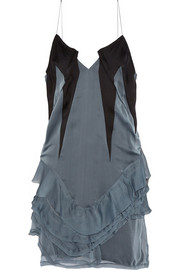 Ruffled crepe-paneled silk-chiffon mini dress
