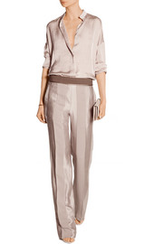 Paneled silk wide-leg pants