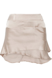 Layered satin mini skirt