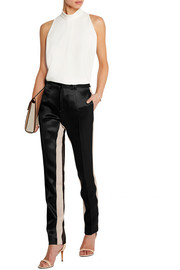 Satin-twill straight-leg pants