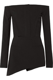 Haider Ackermann Off-the-shoulder stretch-wool crepe playsuit
