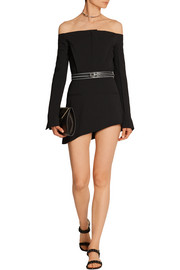 Off-the-shoulder stretch-wool crepe playsuit