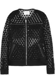 Ostella leather-trimmed crocheted cotton jacket