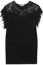 Zeny fringed leather and suede mini dress