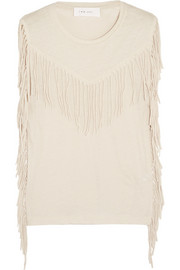 Giise fringed slub jersey top