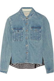 Broderie anglaise cotton-paneled denim shirt