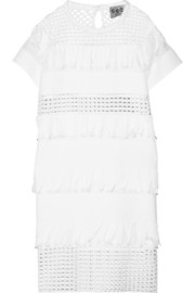 Fringed broderie anglaise-paneled cotton mini dress